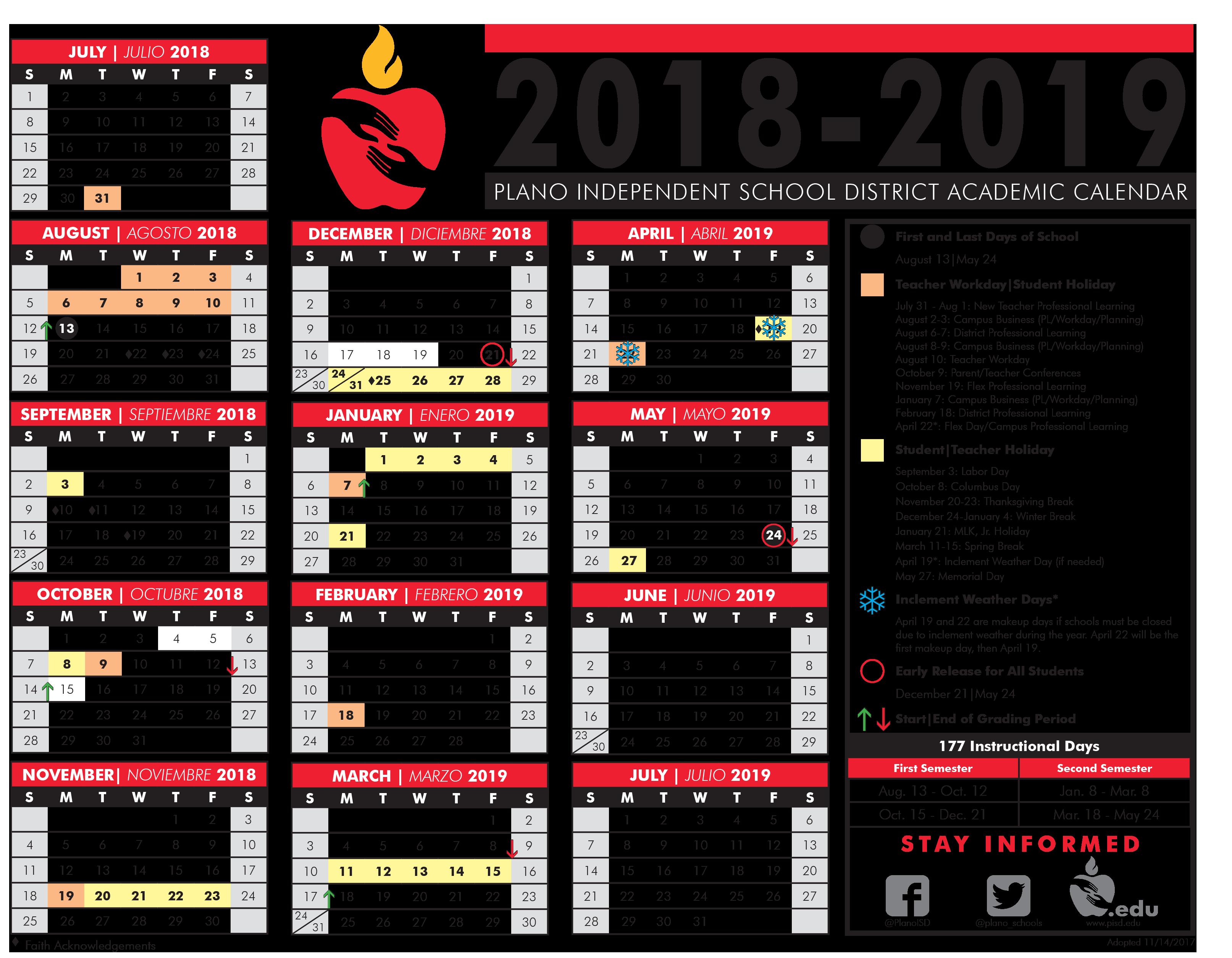 Pisd Calendar 2019 Plano School District ISD Calender 2018   2019   The Real McCoys