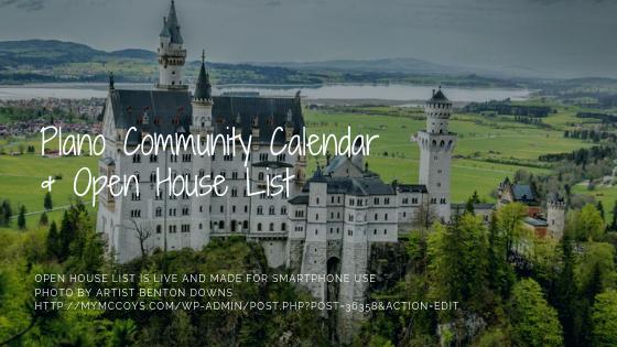 Plano Community Calendar & Open House List (for Smartphones)